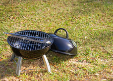 Tabletop Grill And Tongs Royalty Free Stock Photography
