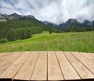 Tabletop with mountain view stock image