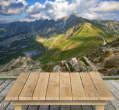 Tabletop with mountain view Royalty Free Stock Images