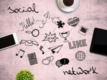 Tabletop with network related icons Stock Photo
