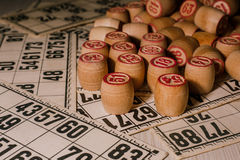 Tabletop old lotto game with wooden elements. Cards bingo Royalty Free Stock Photography