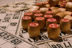 Tabletop old lotto game with wooden elements. Cards bingo stock photo