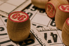 Tabletop old lotto game with wooden elements. Cards bingo royalty free stock photo