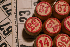 Tabletop old lotto game with wooden elements. Cards bingo Royalty Free Stock Images