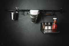 Tabletop setup. ketchup salt and pepper shakers Stock Images