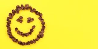 Tabletop sikt, smiley framsida som göras av flingor för krönchokladhavre på gult bräde Utrymme för text på rätsida royaltyfria bilder