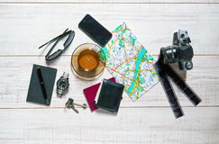 Tabletop of a traveler Royalty Free Stock Photography