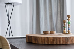 Tabletop with wooden decor stock photos