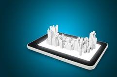 Tabletpc en 3d stad Royalty-vrije Stock Fotografie