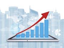 Tabletpc en de groeigrafiek op het schermtablet royalty-vrije illustratie