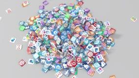 Tabletpc en logotypes van populaire sociale netwerken en de diensten royalty-vrije illustratie