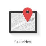 Tabletpc met gps navigatie Stock Foto's