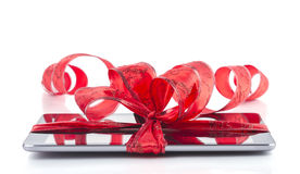 Tabletpc met Kerstmisdecoratie Stock Foto