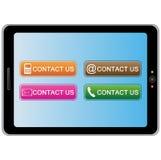 Tabletpc met kleurrijke contactpictogrammen Royalty-vrije Stock Fotografie