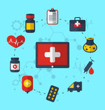 Tabletpc met medische pictogrammen voor Webontwerp, moderne vlakke stijl Stock Fotografie