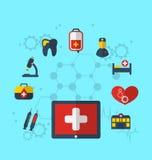 Tabletpc met medische pictogrammen voor Webontwerp, moderne vlakke stijl Stock Afbeeldingen