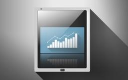 Tabletpc met virtuele grafiek of grafiek Stock Foto