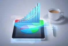 Tabletpc met virtuele grafiek of grafiek Royalty-vrije Stock Foto's