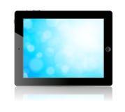 TabletPC:n med blått avskärmer Fotografering för Bildbyråer