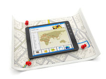 TabletPC:N med en plats kartlägger och A M. Royaltyfri Foto