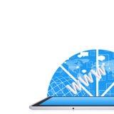 Tabletpc op de abstracte achtergrond Royalty-vrije Stock Fotografie
