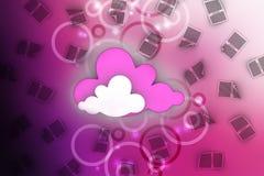 TabletPC på den blåa skyen Arkivfoto