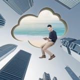 TabletPC på den blåa skyen royaltyfria bilder