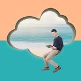 TabletPC på den blåa skyen royaltyfri fotografi