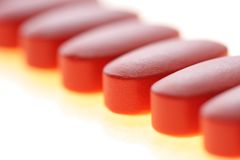 Tablets. Red tablets,life,medical preparation stock photography