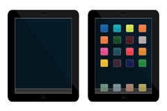 Tablets. Vector illustrations of tablets, one clean, another with icons Royalty Free Stock Images