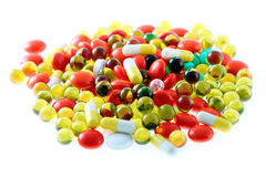 Tablets. And pills in packing on a white background royalty free stock images