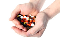 Tablets. Man's hands hold tablets of different flowers royalty free stock image