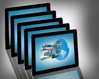 Tablets. Abstraction of five conventional tablets for web designers for various necessities Royalty Free Stock Images