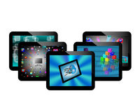 Tablets. Abstraction of five conventional tablets for web designers for various necessities Stock Photo