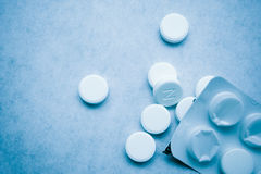 Tablets 4. Closeup of tablets - blue tint royalty free stock images