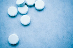 Tablets 5. Closeup of tablets - blue tint stock photo