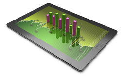 Tablets with a bar graph. Market data Royalty Free Stock Image