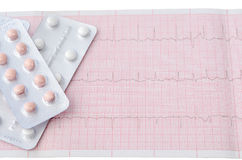 Tablets in blister on background of tape electrocardiogram Royalty Free Stock Photo