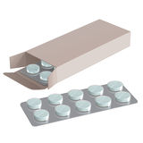 Tablets in blister in a paper box without labels and inscriptions. On a white background royalty free illustration