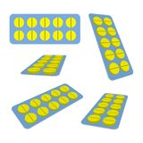 Tablets in Blister. Yellow pills in the blister. Views from different angles. Medical vector illustration Royalty Free Stock Photography