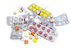 Tablets and capsules Stock Photo