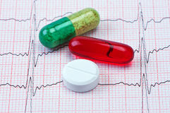 Tablets and capsules on cardiogram. Royalty Free Stock Image