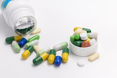 Tablets and capsules. Some commonly used family medicine Stock Photos