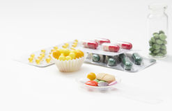 Tablets, capsules and vitamins in blisters isolated Stock Photography