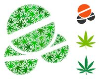 Tablets Mosaic of Hemp Leaves. Tablets collage of marijuana leaves in different sizes and green tints. Vector flat cannabis leaves are united into tablets Royalty Free Stock Photos