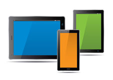 Tablets and color screen. Vector Illustration. Stock Photography
