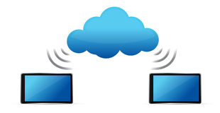 Tablets connected to cloud wifi Royalty Free Stock Image