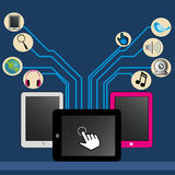 Tablets. Different tablets on blue background with social media icons Stock Images