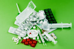 Tablets from the disease. Many drugs and injections Stock Photo