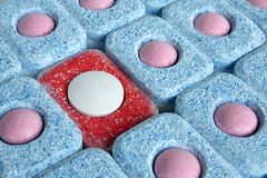 Tablets for dish-washing machine. For backgrounds or textures Royalty Free Stock Images